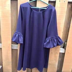 Nina Leonard XL navy dress ruffle flower sleeves